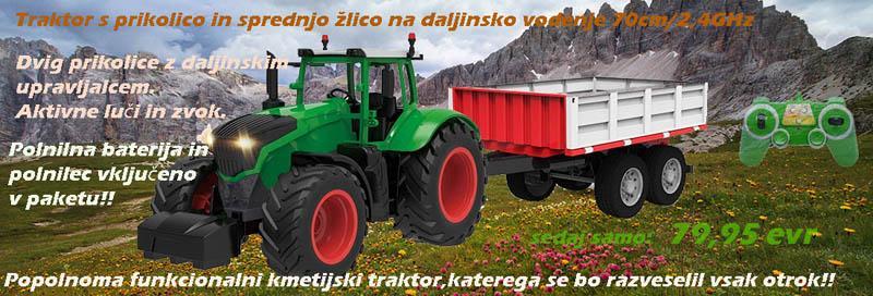 Traktor z žlico in prikolico na daljinsko vodenje.Dolžina 70cm/2,4GHz/z realističnim zvokom in aktiv